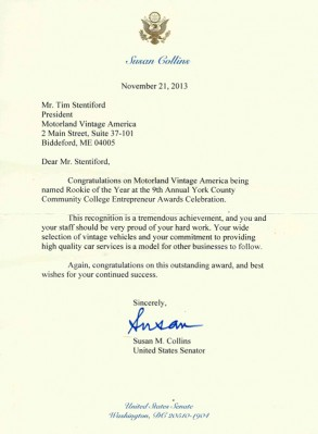 Shout Out From Senator Susan Collins